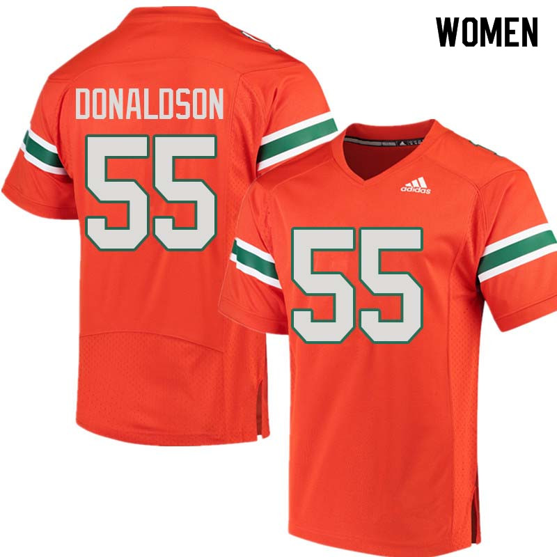 Women Miami Hurricanes #55 Navaughn Donaldson College Football Jerseys Sale-Orange